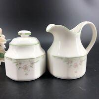 Vintage Royal Doulton Caprice Pattern Lidded Sugar Bowl & Creamer Set 1988