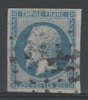 "FRANCE STAMP TIMBRE 15 "" NAPOLEON III 25c BLEU 1853 "" OBLITERE TB A VOIR  N819"