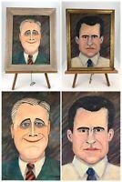 Vintage Original Political Paintings Of Richard Nixon & FDR - American Art