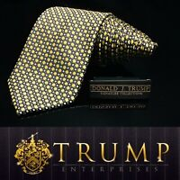 DONALD J. TRUMP~ SIGNATURE COLLECTION Black Gold Diamond NECKTIE POWER TIE 61""