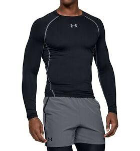 NWT UNDER ARMOUR HeatGear Armour Long Sleeve Black Compression Shirt Sz L