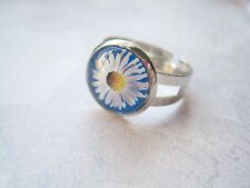 WHITE YELLOW DAISY BLUE GLASS DOMED ADJUSTABLE RING gift SP Floral Flower