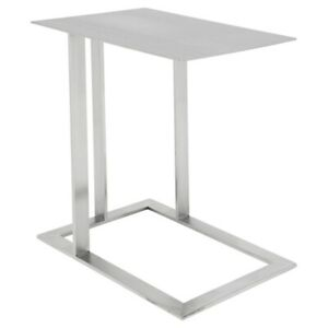 """21"""" L Set of 2 Steel Side Table Modern Industrial Brushed Stainless Steel"""