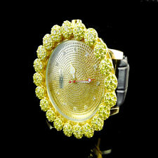 Iced Real Diamond Mens Khronos Joe Rodeo Yellow Gold Finish Cluster Bezel Watch