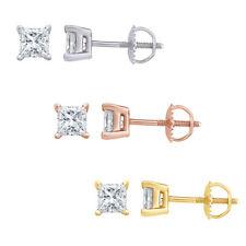 Aretes Corte Princesa Diamante Natural En Oro Macizo 14K, (0.04ct - 0.65ct)