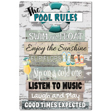 Pool Rules Metal Sign - Home Decor - Beach Decor - 8 x 12 Sign -  Teal Pool Sign