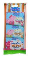 3 x Peppa Pig Hand & Face Wipes 10 Wipes Each Pack Childrens Non Flushable Kids