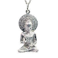 14k White Gold Buddha Diamond Pendant Necklace