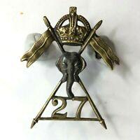 WW2 27th Lancers Cap Badge 2 lug original WW2 raised Regiment 36 x 30 mm