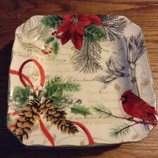 222 Fifth Holiday wishes Salad dessert plates set of 4 New