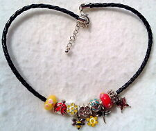 New Bee Flower Lady Bug Dragonfly Butterfly Charm Beaded Necklace