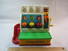 Vintage Fisher Price Cash Regfister Colorful Childrens Monetary Toy Plastic WOW!