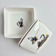 Vintage EXIMIOUS Porcelain Box Handmade Fly Fishing Lures Gold Trim England