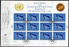 UNITED NATIONS SPECTACULAR COVER HOLDING 2001 NOBEL PEACE PRIZE SHEET FDCS