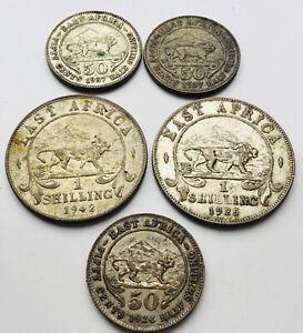 1924-1945 British East Africa Shillings & half shillings