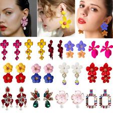 Fashion Women Crystal Flower Drop Dangle Earrings Ear Stud Statement Jewelry