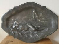 Art Nouveau French pewter calling card tray Maiden and pan