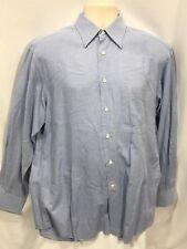 Ermengildo Zegna Dress Shirt 39 15 1/2 Blue White Button Front 100% Cotton