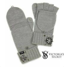 Victorias Secret Snowflake Convertible Gloves Mittens Gray Silver Winter Angel