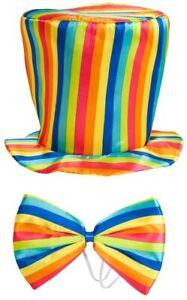 Rainbow Top Hut & Fliege Kostüm Erwachsene Zubehör 10% Gespendet Sich Nhs