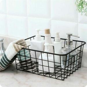 2Pc Iron Storage Basket Metal Wire Mesh Basketry Kitchen Bathroom Tray Desk Tidy