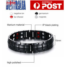 Mens Magnetic Titanium Super Strong Anion Energy Therapy Bracelet Bio Arthritis