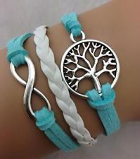 Stunning Infinity Blue Bracelet Infinite Knot Tree of Life Vintage Braided Love