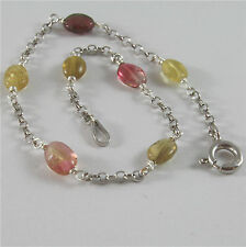 .925 RHODIUM SILVER BRACELET WITH NATURAL MULTICOLOR TOURMALINE 7.09 IN LONG