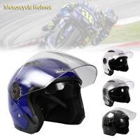 Motorcycle Helmet Open Face Scooter Motorbike Helmet Dual Sun Visor Black Blue