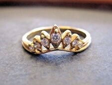 Gorgeous Tiara  Ring 14K solid yellow Gold with Cubic Zirconias  sz 8.25 MustSee