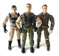 "Flint V5, Crossfire V1 & Leatherneck V4 GI Joe 3.75"" Figures Lot 2001 Hasbro"