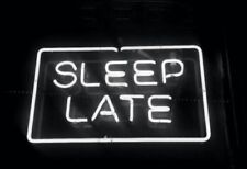 New Sleep Late White Color Pub Acrylic Neon Light Sign 14""