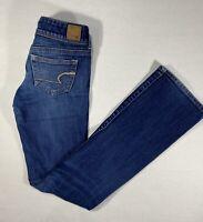 American Eagle Slim Boot Cut Jeans Women's Size 2 Long Stretch Dark Wash Blue