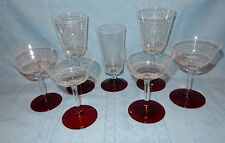 Set/Lot of 7 Vintage Red Foot Mid Century Modern Etched Ring Glasses Wine Water