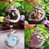 Retro Silver Natural Crystal Hexagonal Gemstone Dragon Pendant for necklace