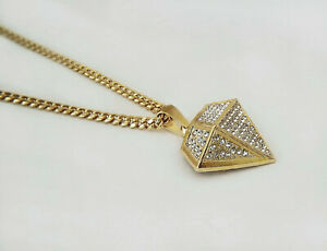 Micro pave Diamond-shape Bling Pendant 18k Gold Filled,  24 inch Solid Chain