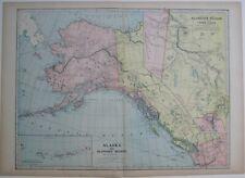 Original 1899 Map ALASKA KLONDIKE GOLD REGION Dawson Yukon Skagway Lake Labarge