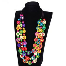 Handcraft Bohemian Necklace - Multi colour Coconut Shell & Wooden Beads