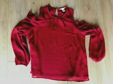 H & M DARK RED LONG SLEEVE OPEN SHOULDER LINED FRILL TOP SIZE 12