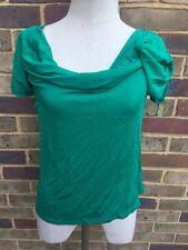 Ladies Summer Green Max Mara Studio Blouse T Shirt Top Medum Size UK 12