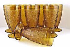 "Tiara Sandwich Glass Ice Tea Glasses Footed Tumblers Amber Indiana 8pcs 6.25"" T"