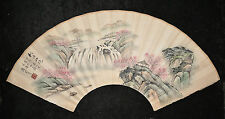 Chinese  Fan  Shape  Water  On  Paper  Painting     M2216