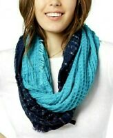 INC International Concepts Women's One Size Casual Ombre Waffle Loop Scarf Navy
