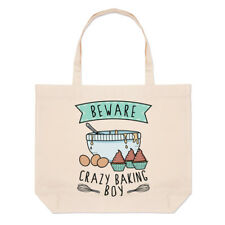 Beware Crazy Baking Boy Large Beach Tote Bag - Funny Baker Cake