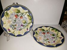 "2 Fitz & Floyd Classics Somerset Berries 9.5"" Decorative Canape Plates - Retired"