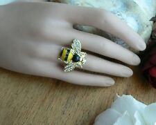 Unusual gift for her Summer Spring Ring Kitsch Quirky Retro Inlaid Crystals Girl