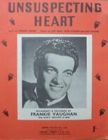 Vintage FRANKIE VAUGHAN Unsuspecting Heart romance love song MUSIC SHEET 1954