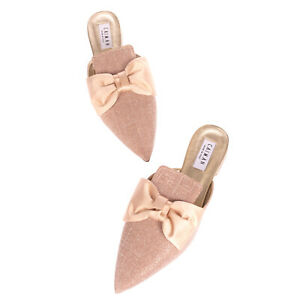 RRP €135 CAIMAN Mule Flat Shoes Size 40 UK 7 US 10 Lame Effect Bow Made in Italy