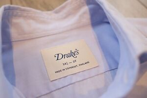 Drake's Pale Blue Pick and Pick Spread Collar Shirt 14.5
