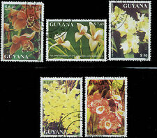 Guyana Scott #2407-#2411 Complete Used Set Orchids